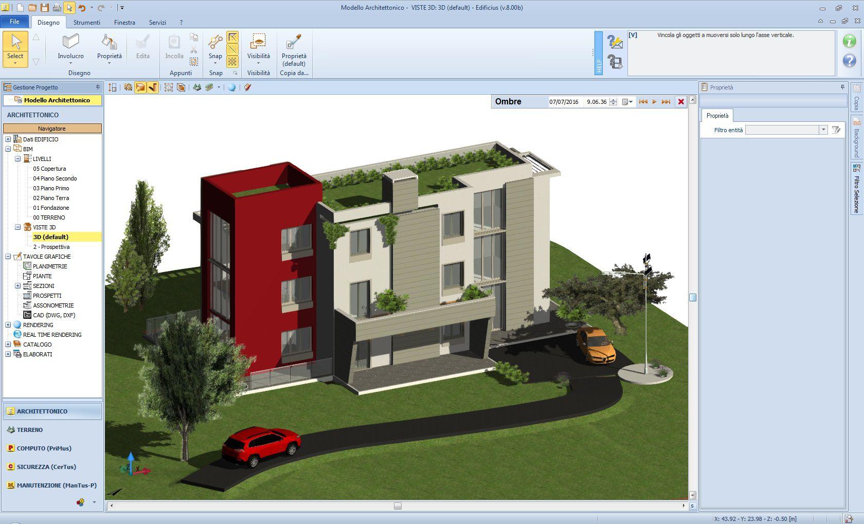 Figura 1: Modello architettonico generato da Edificius (software di Authoring BIM architettonico di ACCA software S.p.A.)