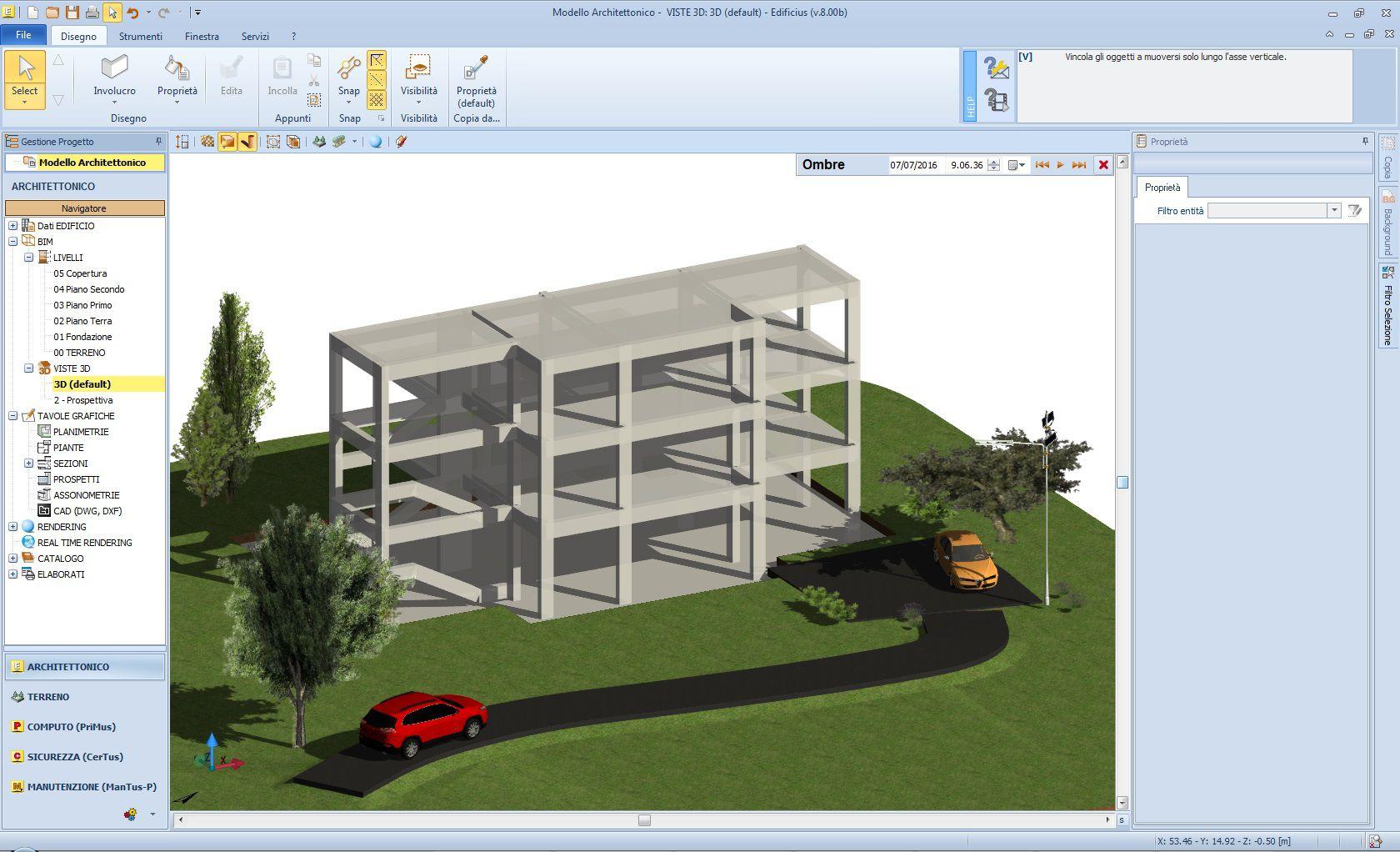 Figura 2: Modello strutturale creato da EdiLus (software di Authoring BIMstrutturale di ACCA software S.p.A.)
