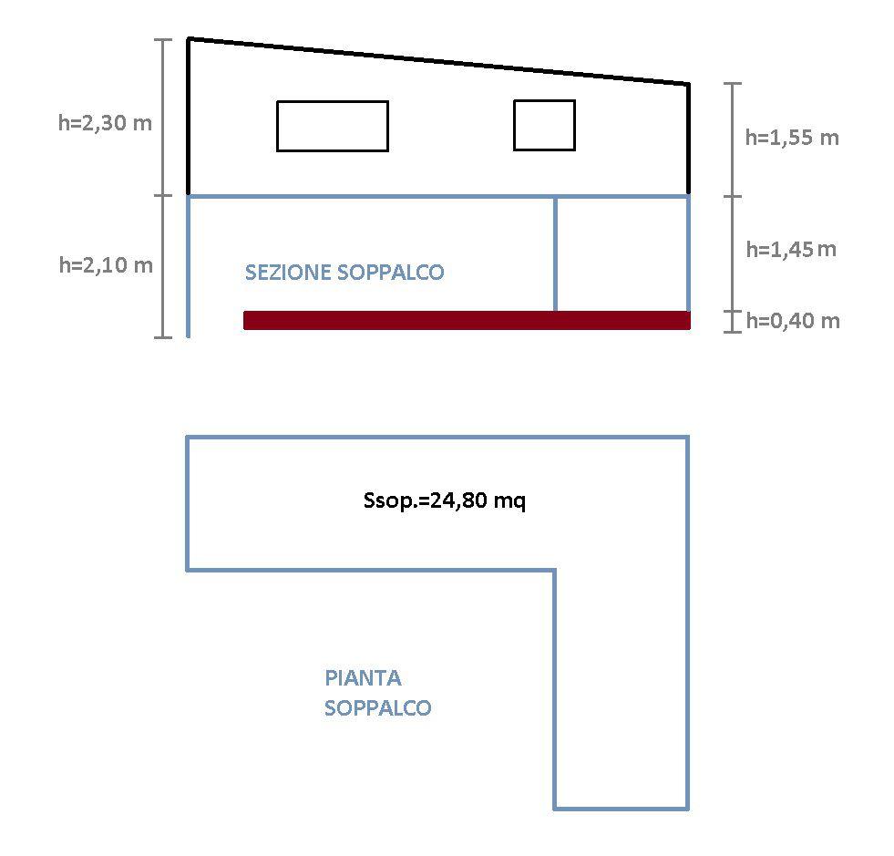 Pianta e sezione del soppalco-ripostiglio