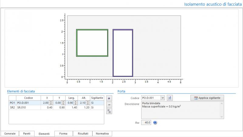 Valutazione preventiva prestazioni acustiche - Maschera elementi del calcolo isolamento acustico di facciata