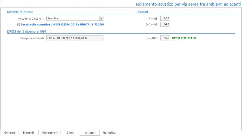 Valutazione preventiva prestazioni acustiche - Maschera dei risultati del calcolo isolamento acustico per via aerea