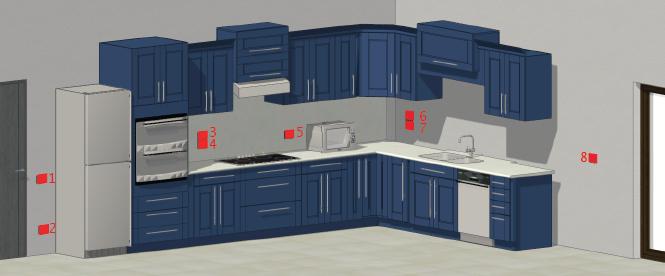 Questa immagine rappresenta un'ipotetica distribuzione delle prese e degli interruttori in una cucina