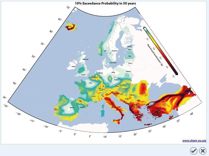 Mappa pericolosità sismica europa