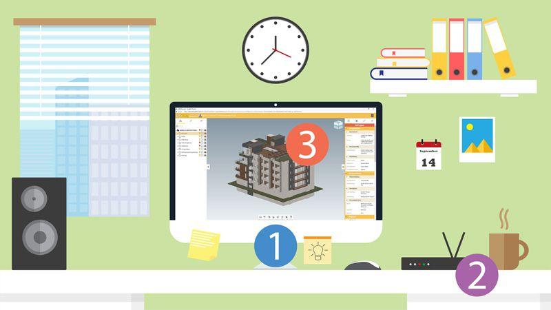 Immagine a colori che mostra come organizzare il lavoro da casa e gli strumenti occorrenti