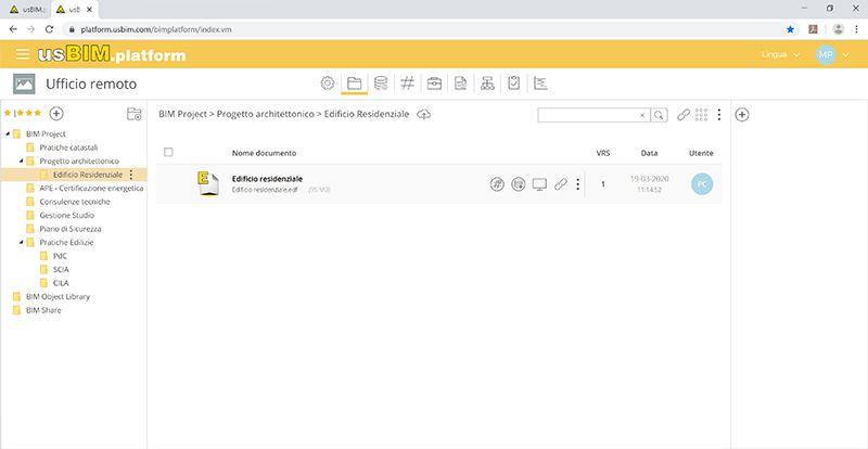 Immagine che mostra una schermata di usBIM.platform: piattaforma di lavoro in Cloud