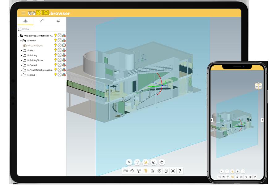 Immagine che mostra una schermata di usBIM.platform con viasualizzazione di un progetto 3D sul web