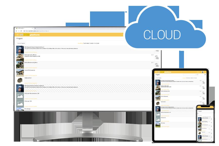 Immagine a colori che illustra usBIM.platform: piattaforma di lavoro in Cloud