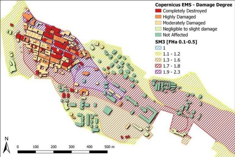 Immagine a colori che mostra dalla metodologia Enea per la classificazione delle macerie di un terremoto, il grado di danneggiamento degli edifici