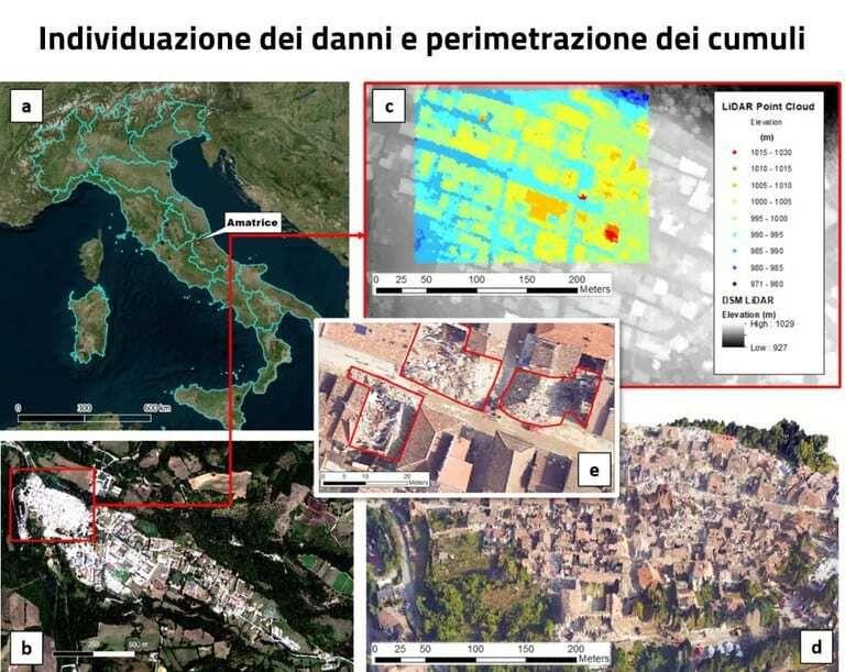 Immagine a colori che mostra dalla metodologia Enea per la classificazione delle macerie di un terremoto, la individuazione dei danni e perimetrazione dei cumuli