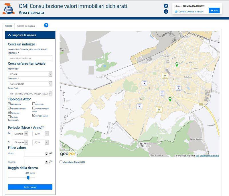 Immagine a colori che mostra una mappa dal servizio dell'Agenzia delle Entrate di consultazione online dei valori immobiliari