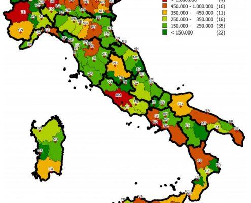 Distribuzione stock residenziale nelle province italiane