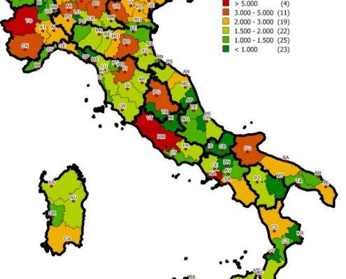 Distribuzione stock Gruppo B nelle province italiane