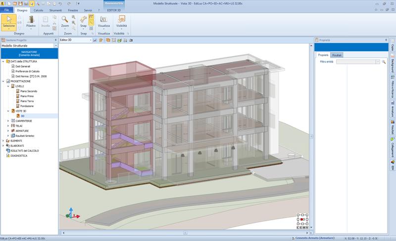 Figura 5 – EdiLus realizzazione del modello strutturale con modello architettonico integrato