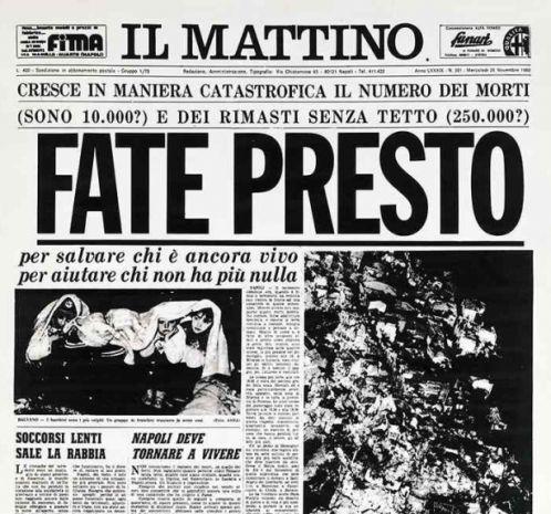 Prima pagina de 'Il Mattino' del 27 novembre 1980