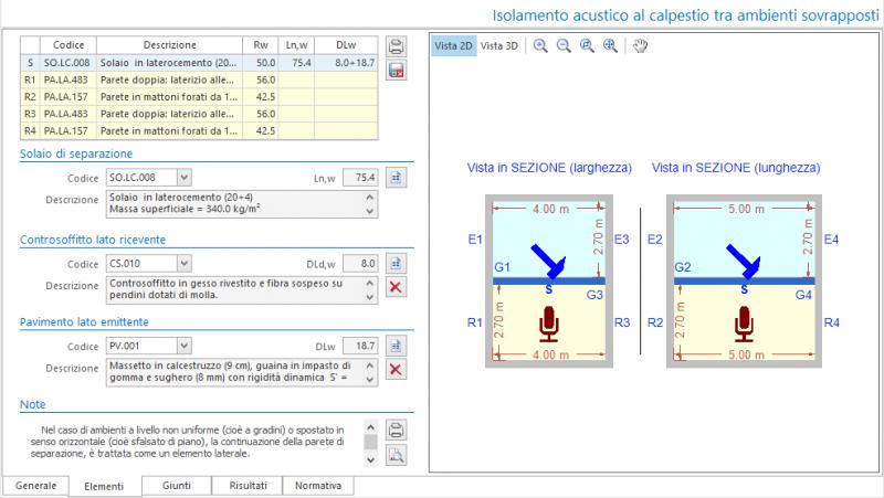 Valutazione preventiva prestazioni acustiche - Maschera elementi del calcolo isolamento acustico al calpestio