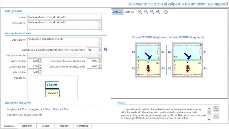 Valutazione preventiva prestazioni acustiche - Maschera dati generali del calcolo isolamento acustico al calpestio