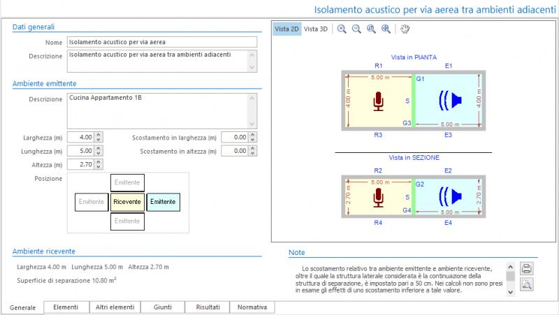 Valutazione preventiva prestazioni acustiche - Maschera dati generali del calcolo isolamento acustico per via aerea