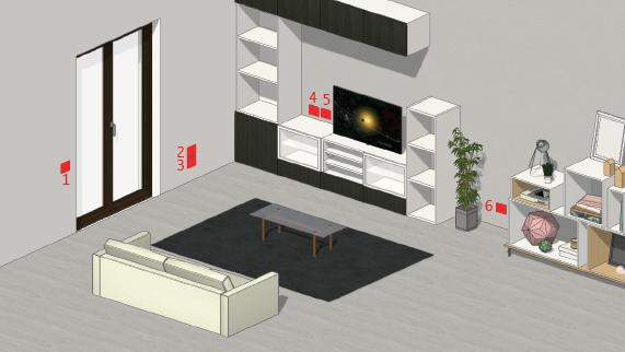 Questa immagine rappresenta un'ipotetica distribuzione delle prese e degli interruttori in soggiorno