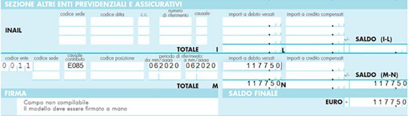 Immagine che mostra un esempio di come compilare l'F24 per INARCASSA