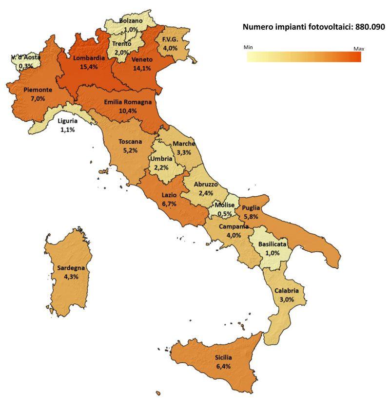 Immagine a colori che mostra un grafico sulla distribuzione regionale per numero degli impianti