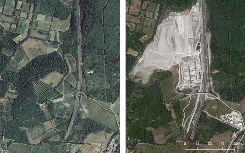 Immagini che mostrano l'esempio di un'area prima e dopo il consumo suolo relativo al 2020