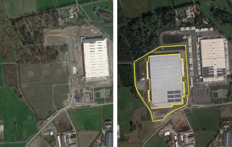 Immagine che mostra l'esempio di un'area con il prima e il dopo consumo suolo