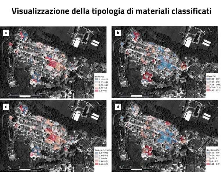 Immagine a colori che mostra dalla metodologia Enea per la classificazione delle macerie di un terremoto, la visualizzazione della tipologia dei materiali classificati