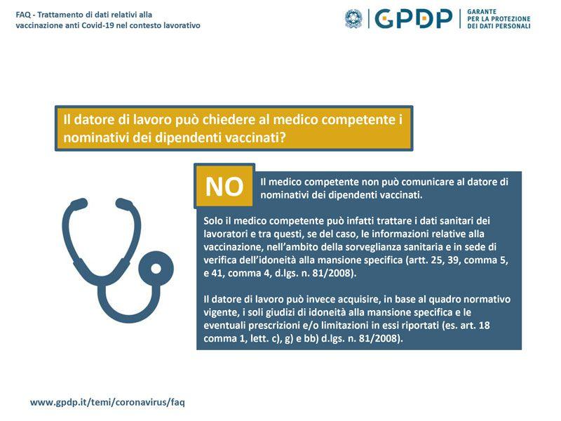 Immagine a colori che mostra un'infografica relativa alle FAQ Garante della privacy sul trattamento di dati relativi alla vaccinazione anti covid-19 nel contesto lavorativo