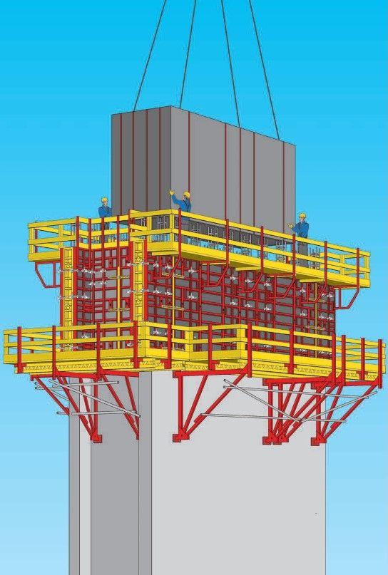 Immagine a colori che mostra una cassaforma modulare a ripresa prefabbricata