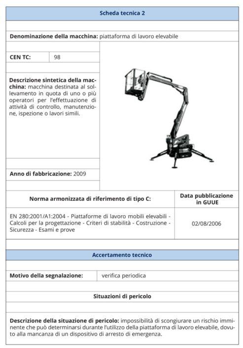Immagine che mostra un esempio di scheda tecnica INAIL
