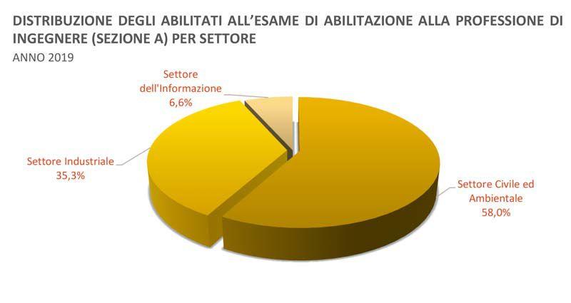 Immagine a colori che mostra un grafico a torta relativo alla distribuzione nei relativi settori degli abilitati in ingegneria nel 2019