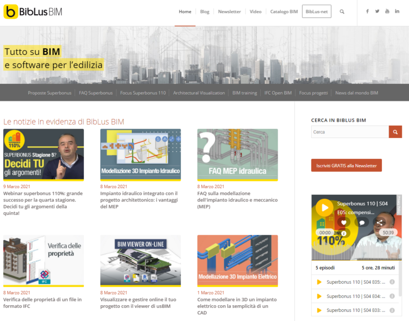 Home page di Biblus BIM oggi (2021)