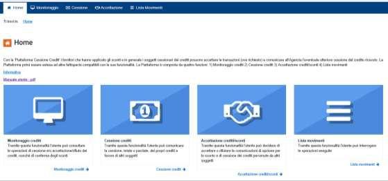 Immagine a colori che mostra la piattaforma delle Entrate sulla cessione del credito