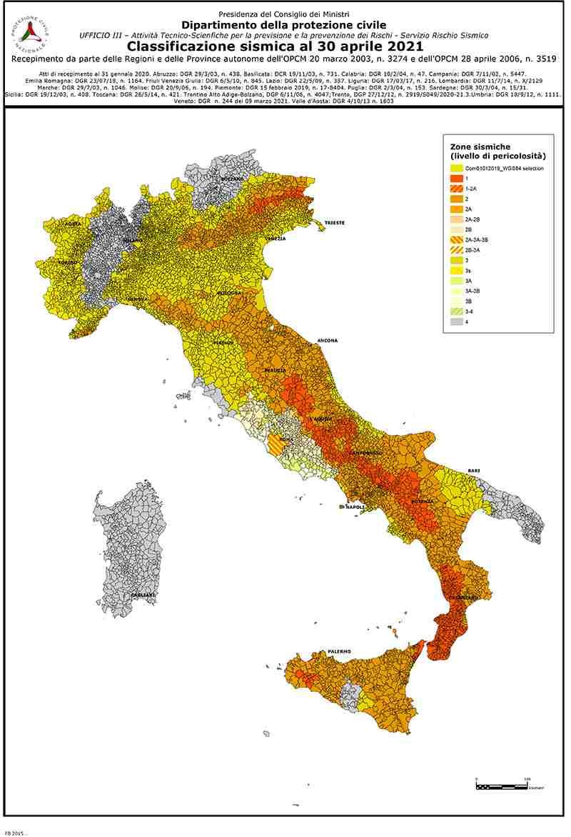 mappa dell'Italia classificazione rischio sismico
