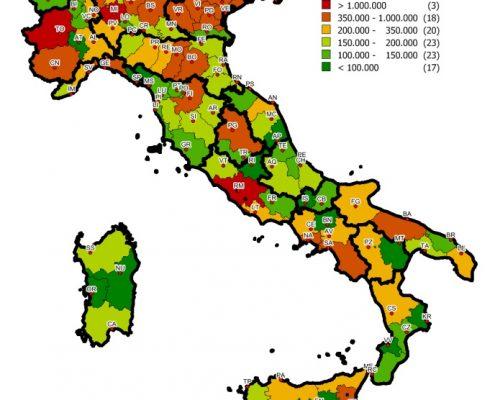 Distribuzione stock Gruppo C nelle province italiane