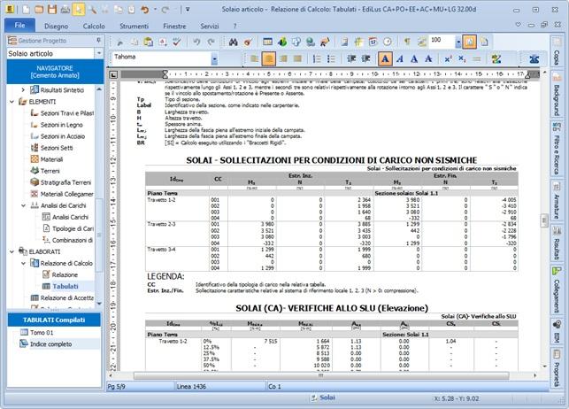 EdiLus-CA: relazione tecnica e tabulati con i risultati del calcolo