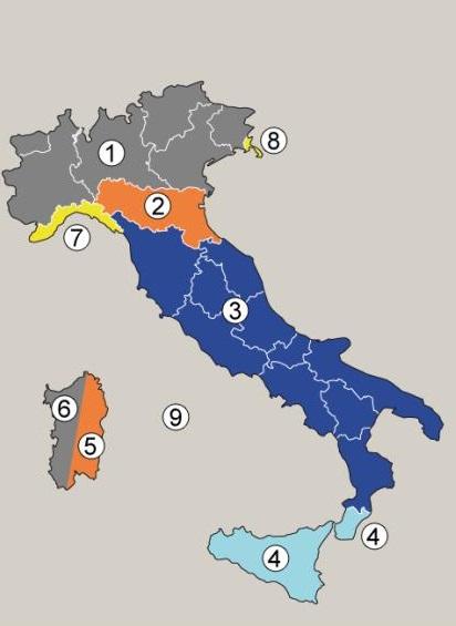 Mappa delle zone del territorio italiano